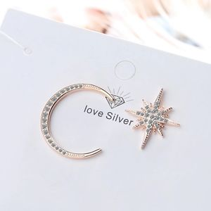 🆕 S925 Rose Gold Assymetric Pave Moon & Star Stud